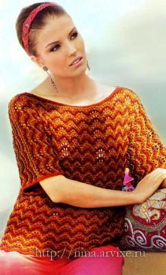 Женский пуловер спицами схема