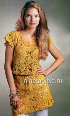 Ажурное платье-туника, связанное крючком