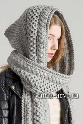 шарф-капюшон спицами