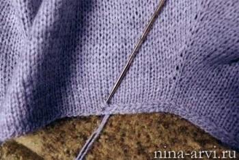 Обработка края вязаного изделия крючком