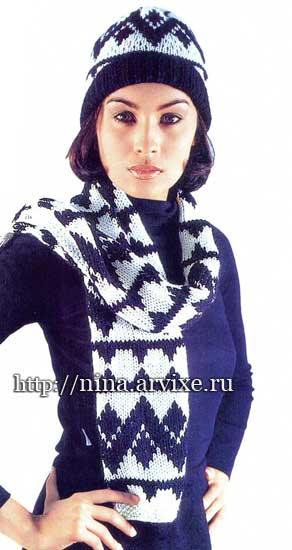 вязание спицами шапки и шарфа с жаккардовым узором