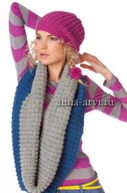 Молодежная вязаная шапка и шарф хомут
